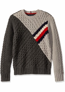 Tommy Hilfiger Men's Rivington Crew Neck Wool Sweater Charcoal/New Silver