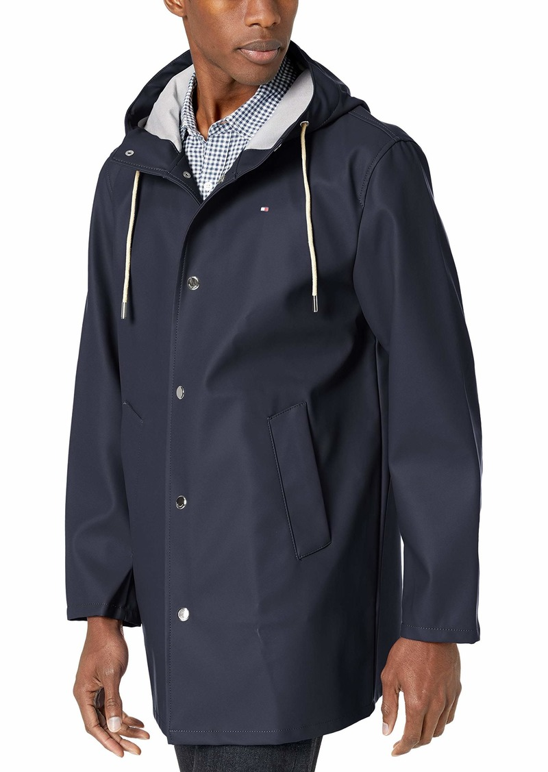 Tommy Hilfiger Men's Rubberized PU Midlength Hooded Rain Parka