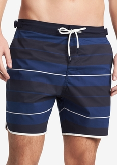 """Tommy Hilfiger Men's 6.5"""" Russo Stretch Stripe Swim Trunks, Created for Macy's"""