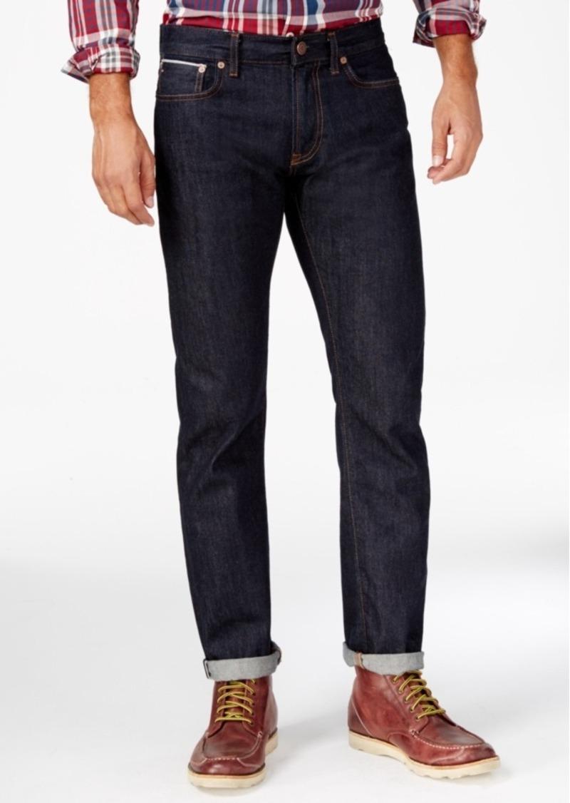 Tommy Hilfiger Men's Selevedge Straight-Fit Dark Wash Jeans