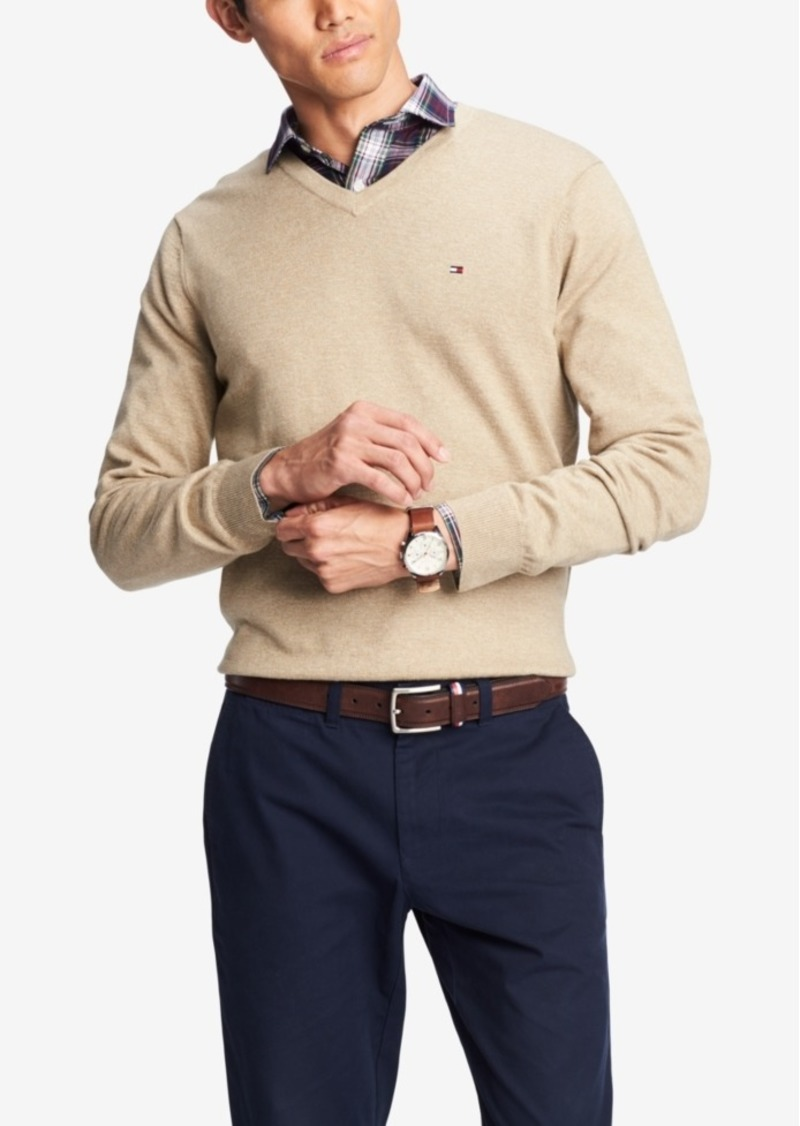 0f663aa61 Tommy Hilfiger Men's Signature Solid V-Neck Sweater, Created for Macy's