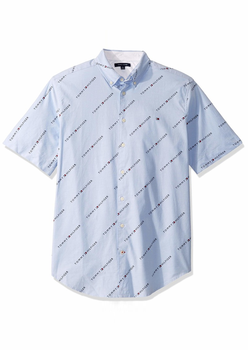 Tommy Hilfiger Men's Size Big and Tall Button Down Short Sleeve Shirt Oxford  XL