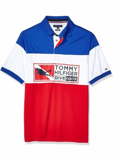 Tommy Hilfiger Men's Size Big and Tall Polo Shirt Custom Fit Surf The Web/Multi XL