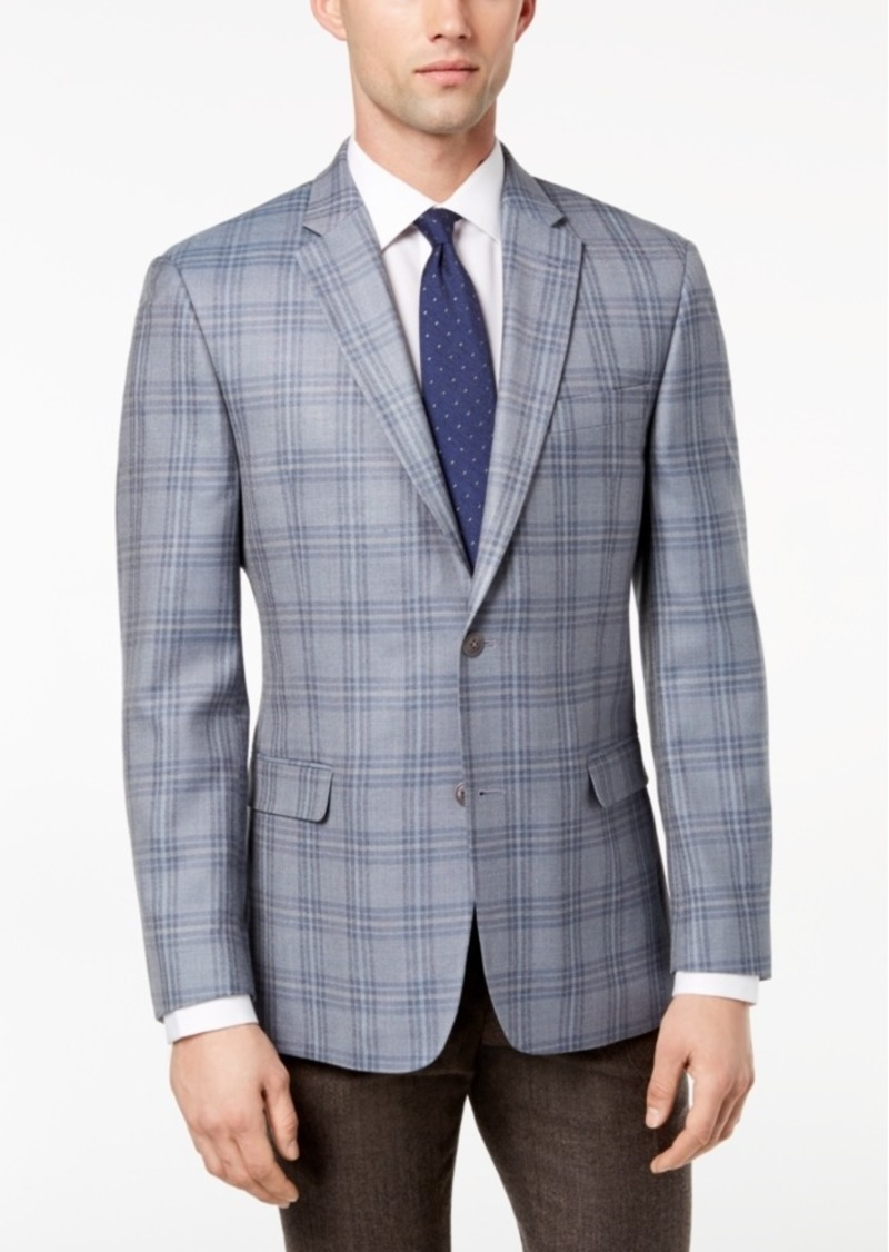 53d2889c052 Men s Modern-Fit Baby Blue Plaid Silk and Wool Sport Coat. Tommy Hilfiger