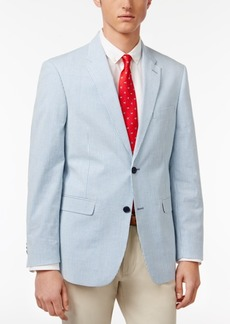 Tommy Hilfiger Men's Slim-Fit Blue and White Seersucker Stretch Performance Sport Coat