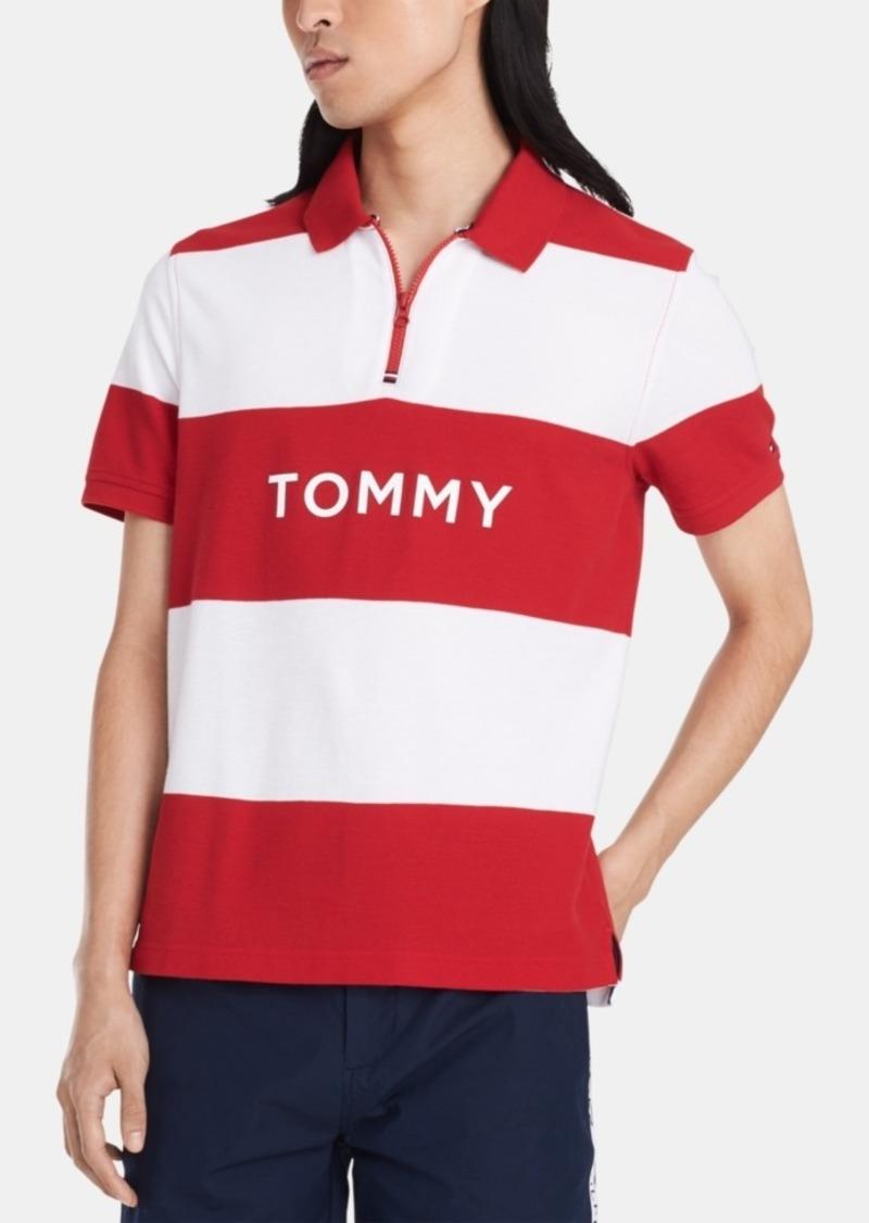 Tommy Hilfiger Men's Custom-Fit Stripe Zip Polo Shirt