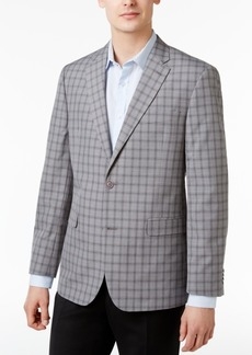 Tommy Hilfiger Men's Slim-Fit Gray Plaid Sport Coat