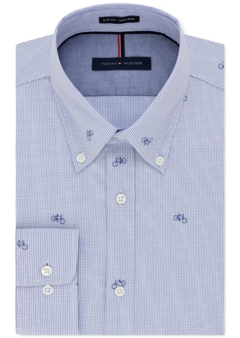 b5572ef0 Men's Slim-Fit Non-Iron Azure Bicycle Print Dress Shirt. Tommy Hilfiger