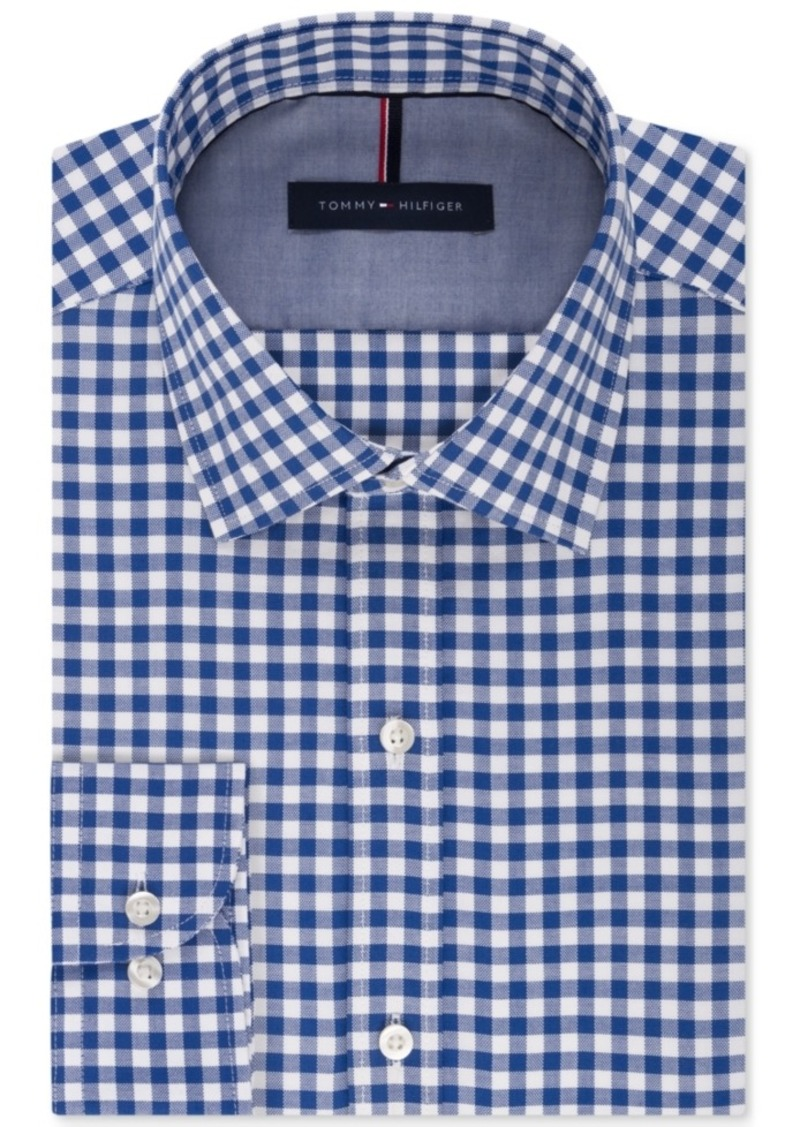 Tommy hilfiger tommy hilfiger men 39 s slim fit non iron for Mens blue gingham shirt