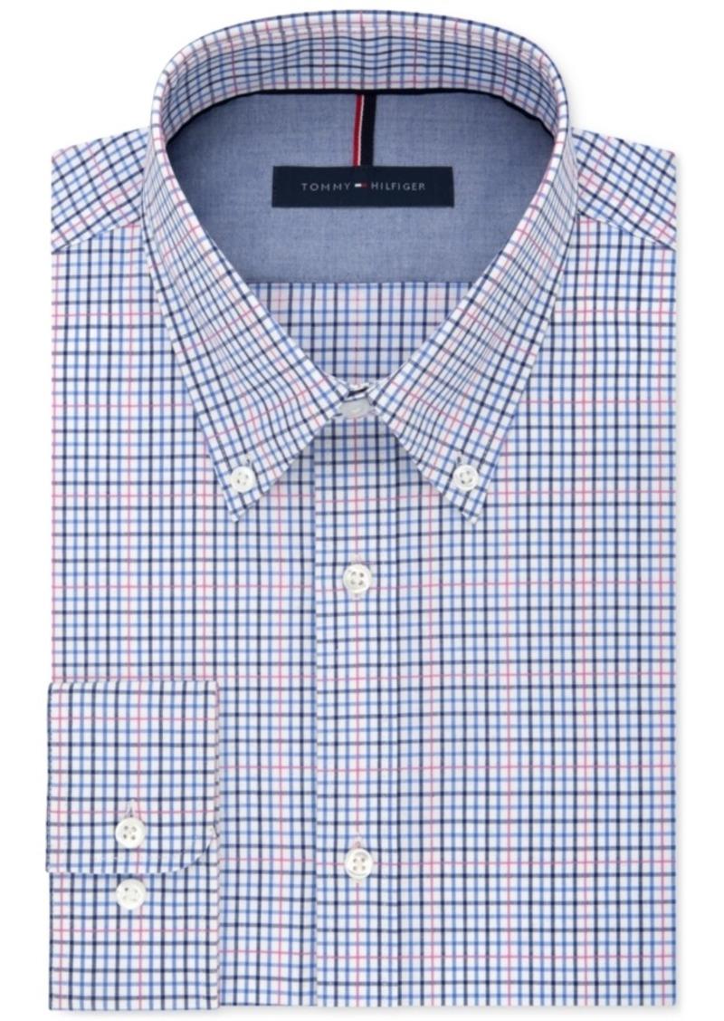 Tommy Hilfiger Men's Slim-Fit Non-Iron Navy Multi-Check Dress Shirt