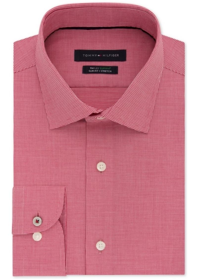 28d6ae8b Tommy Hilfiger Men's Slim-Fit Non-Iron Performance Stretch Check Dress Shirt