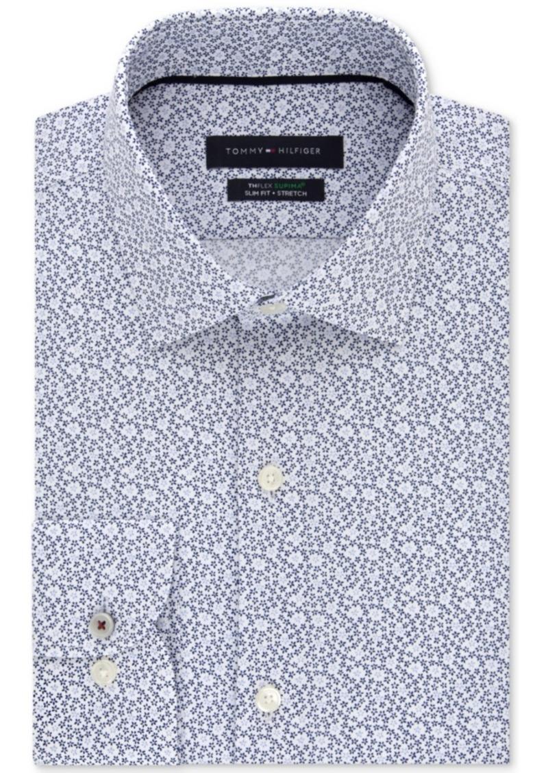 Tommy Hilfiger Men's Slim-Fit Non-Iron Th Flex Performance Stretch Floral Ditsy-Print Dress Shirt