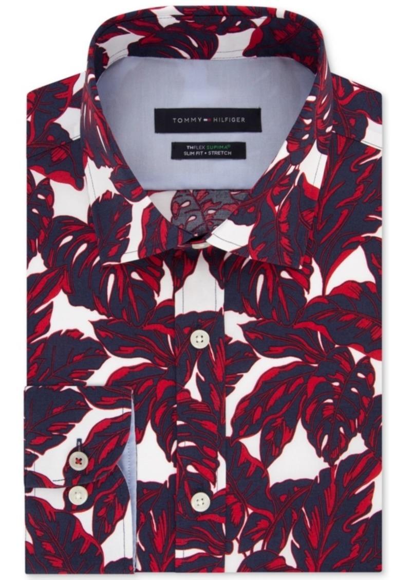 Tommy Hilfiger Men's Slim-Fit Non-Iron Th Flex Performance Stretch Frond-Print Supima Cotton Dress Shirt