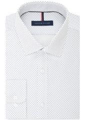 Tommy Hilfiger Men's Slim-Fit Non-Iron White Print Dress Shirt