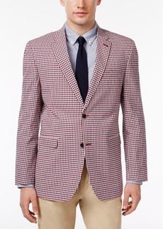 Tommy Hilfiger Men's Slim-Fit Red and Blue Gingham Sport Coat