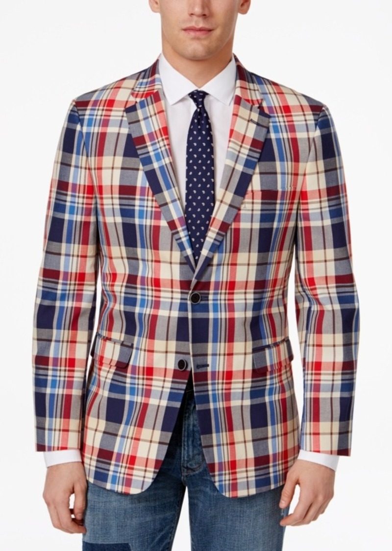 149265a30 Men's Slim-Fit Red, Tan and Blue Cotton Sport Coat