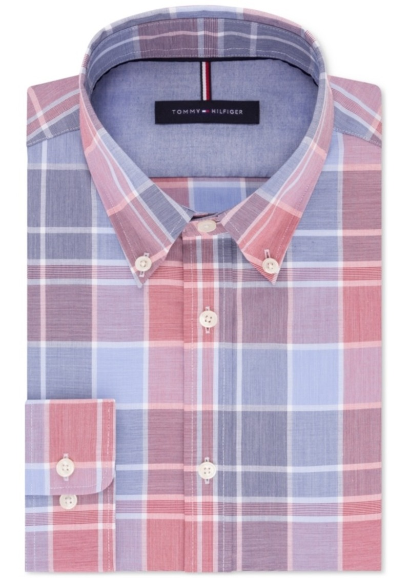 c0a5261fb Tommy Hilfiger Men's Slim-Fit Soft Touch Non-Iron Red and Blue Plaid Dress