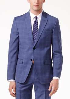 Tommy Hilfiger Men's Slim-Fit Stretch Performance Medium Blue Plaid Suit Jacket
