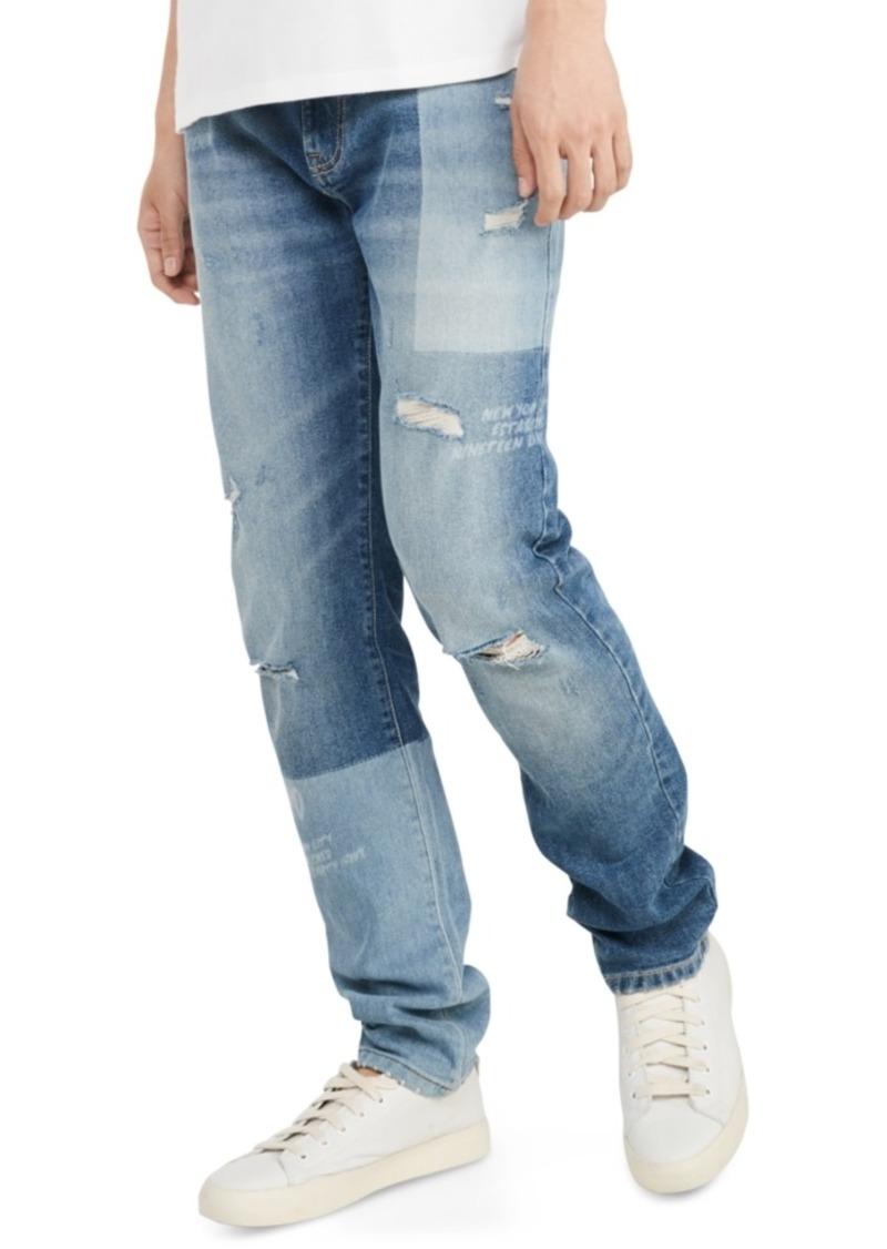 Tommy Hilfiger Men's Slim-Fit Tapered Laser Patchwork Jeans