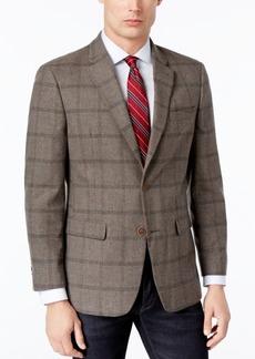 Tommy Hilfiger Men's Slim-Fit Taupe/Gray Windowpane Sport Coat
