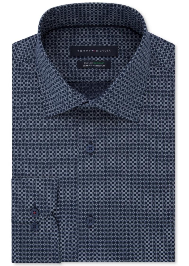 e8e0da6e Men's Slim-Fit Th Flex Non-Iron Supima Stretch Pattern Dress Shirt. Tommy  Hilfiger