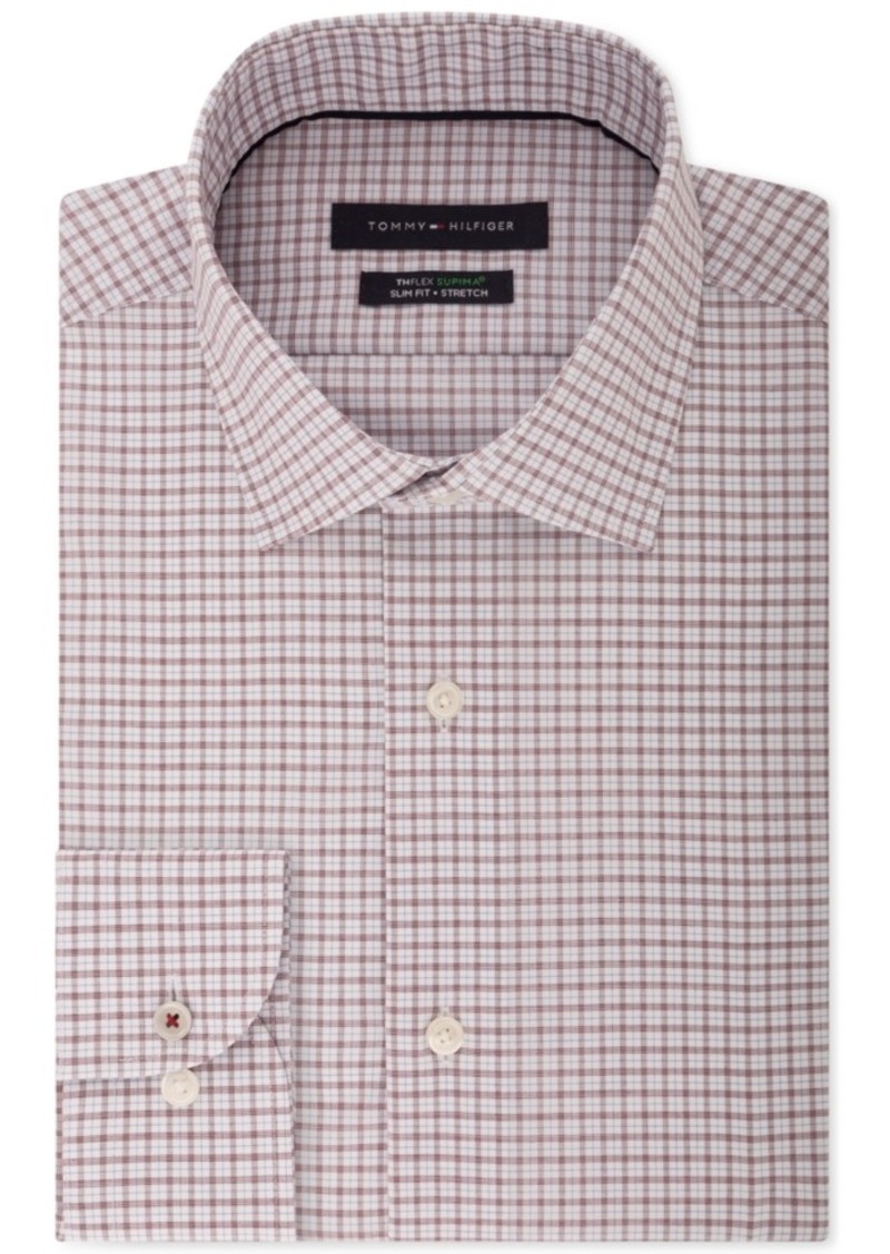b35fed6a1 Men's Slim-Fit Th Flex Performance Stretch Non-Iron Red Check Dress Shirt. Tommy  Hilfiger
