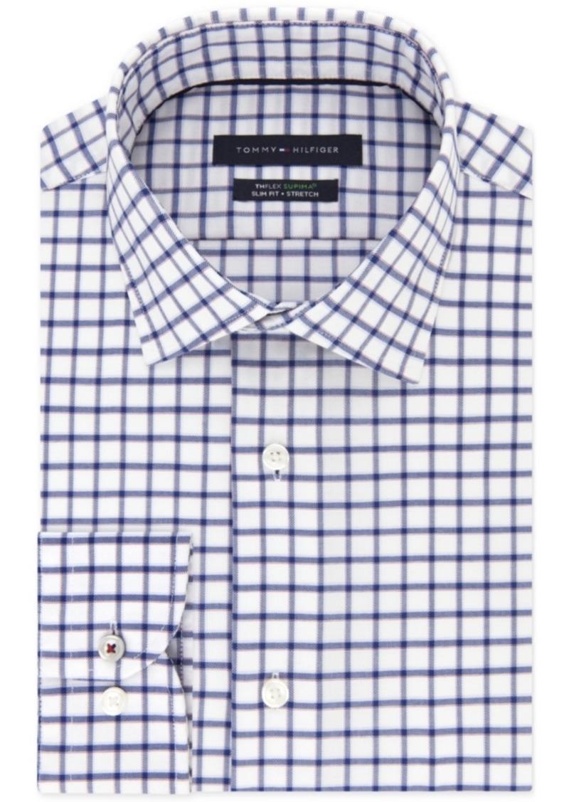 44f2d839 Men's Big and Tall Slim-Fit Th Flex Stretch Performance Navy Check Dress  Shirt. Tommy Hilfiger