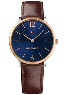 Tommy Hilfiger Men's Slim Sophisticated Sport Brown Leather Strap Watch 40mm 1710354