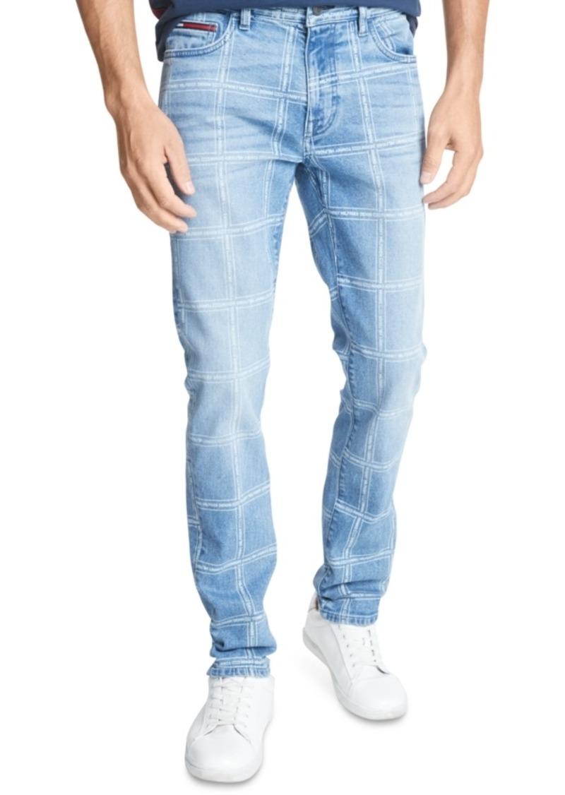 Tommy Hilfiger Men's Slim Tapered Grid-Pattern Jeans