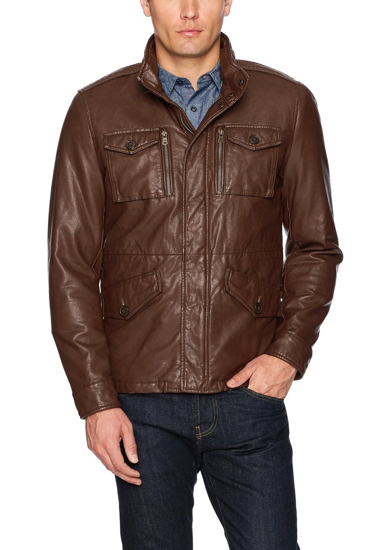 af777ae97 Men's Smooth Lamb Faux Leather Military Jacket