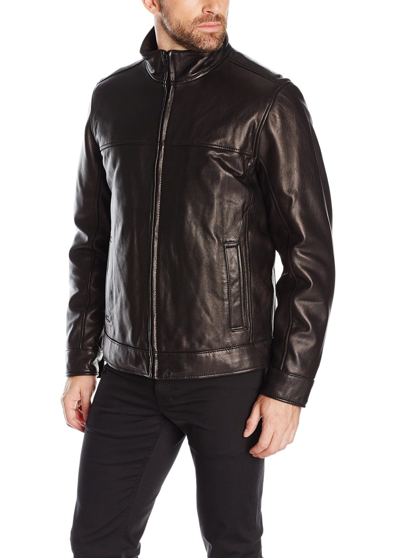 Tommy Hilfiger Men's Smooth Lamb Leather Stand Collar Jacket  L
