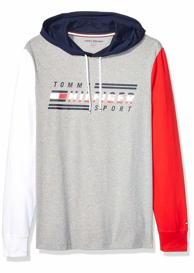 Tommy Hilfiger Men's Sport Long Sleeve Graphic T Shirt with Hood Grey Heather XL