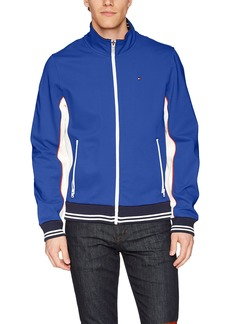 Tommy Hilfiger Men's Stand Collar Retro Colorblock Track Jacket Royal Blue/White w. Contrast Zipper
