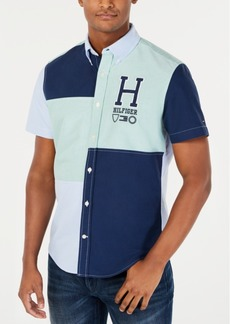 Tommy Hilfiger Men's Sterling Custom-Fit Colorblocked Embroidered Logo Shirt, Created for Macy's