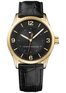Tommy Hilfiger Men's Table Black Leather Strap Watch 42mm, Created for Macy's