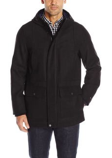 Tommy Hilfiger Men's Technical Wool Blend Hooded Stadium Jacket  S
