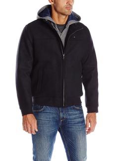Tommy Hilfiger Men's Technical Wool Varsity Baseball Bomber Jacket with Soft Shell Hood  S