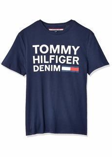 Tommy Hilfiger Men's THD Short Sleeve Logo T Shirt Navy blazer LG
