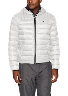 Tommy Hilfiger Men's Ultra Loft Insulated Packable Jacket with Contrast Bib and Hood Ice/Midnight L