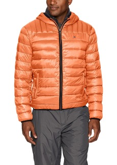 Tommy Hilfiger Men's Ultra Loft Insulated Packable Jacket with Contrast Bib and Hood Orange/Charcoal L