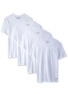 Tommy Hilfiger Men's Undershirts 4 Pack Cotton Classics V-Neck T-Shirts