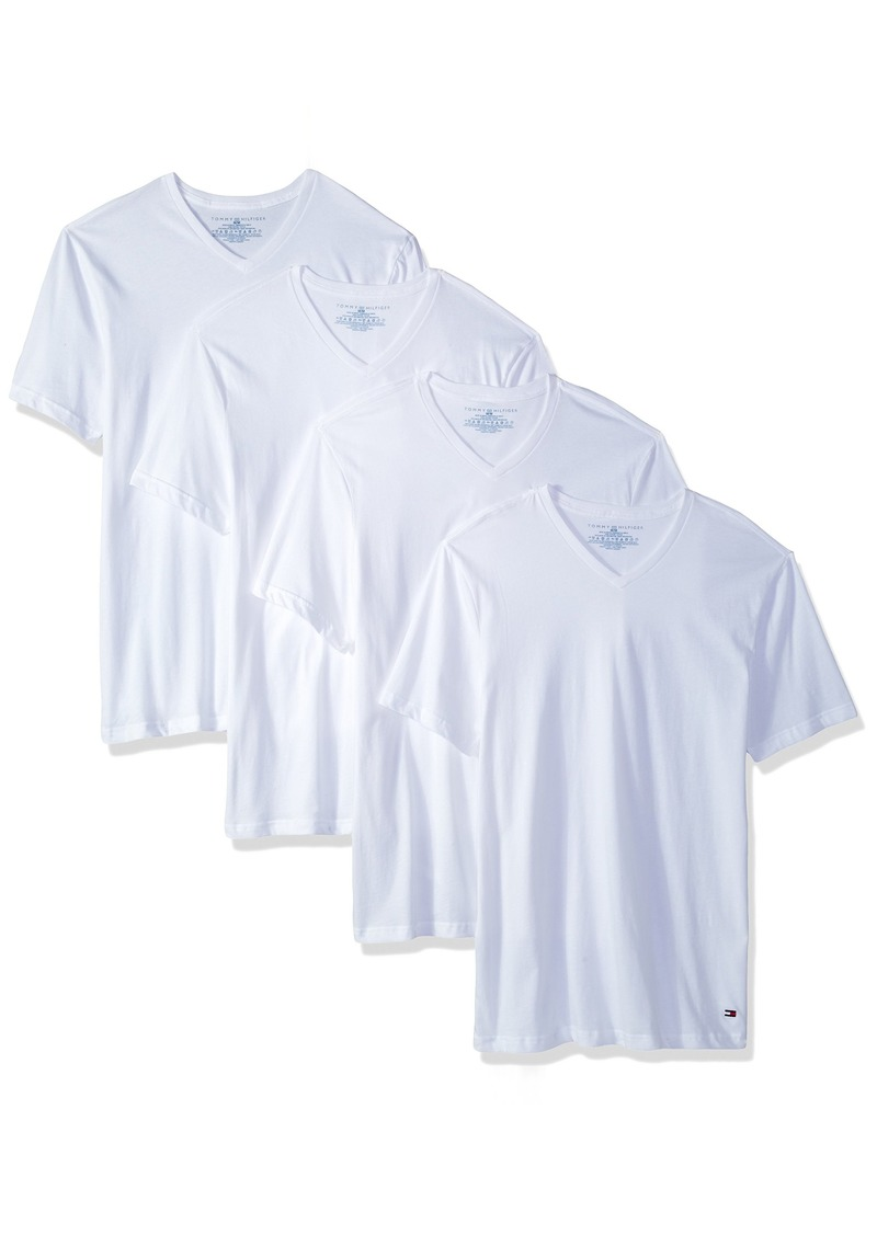 Tommy Hilfiger Men's Undershirts 4 Pack Cotton Classics V-Neck T-Shirts White