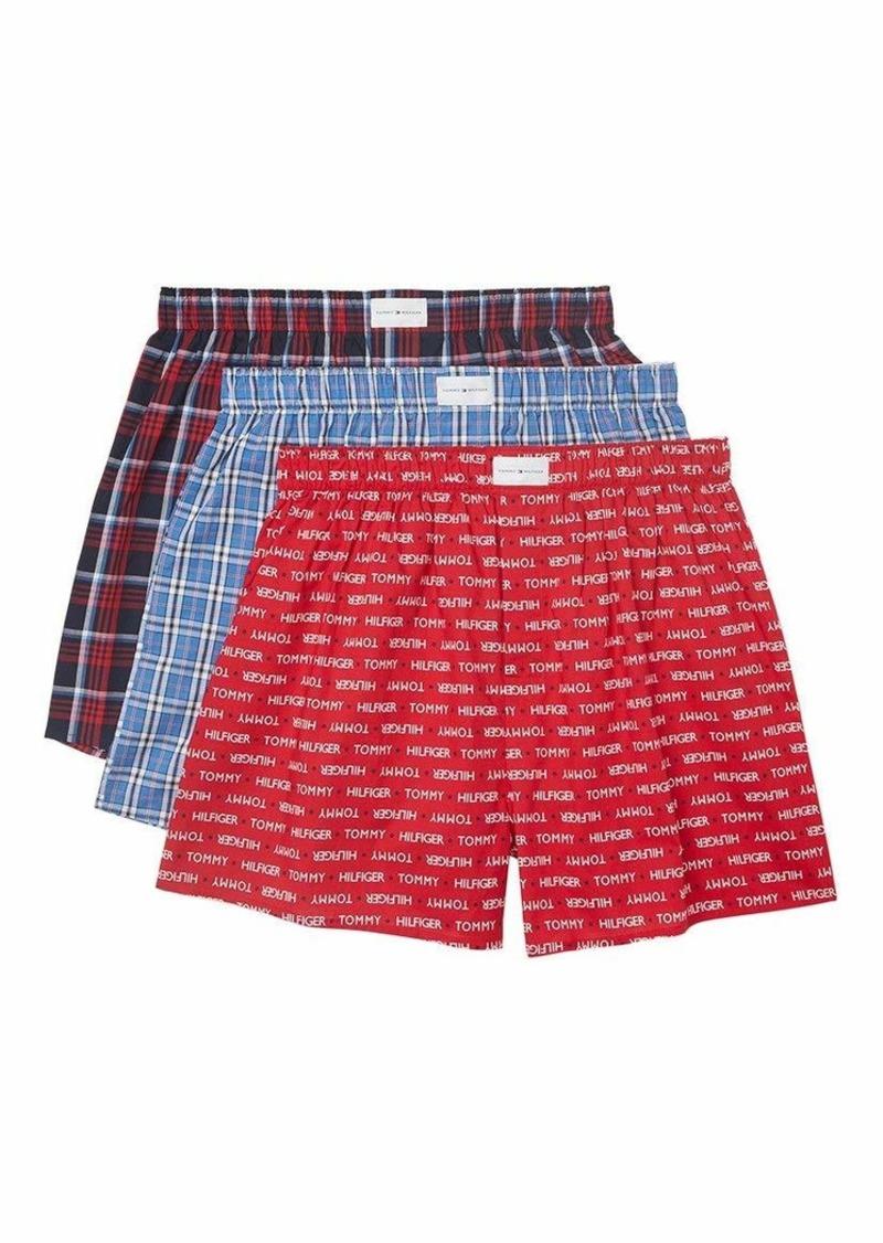 Tommy Hilfiger Men's Underwear 3 Pack Cotton Classics Woven Boxer Scarlet (Multi) S