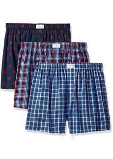 Tommy Hilfiger Men's Underwear 3 Pack Cotton Classics Woven Boxers Red Plaid Logo Print/Blue Plaid