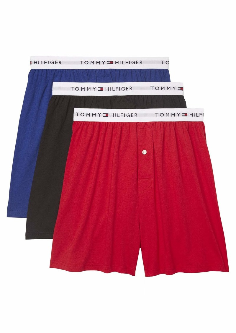 Tommy Hilfiger Men's Underwear Cotton Classics Multipack Knit Boxers Red (Multi 3 Pack) M