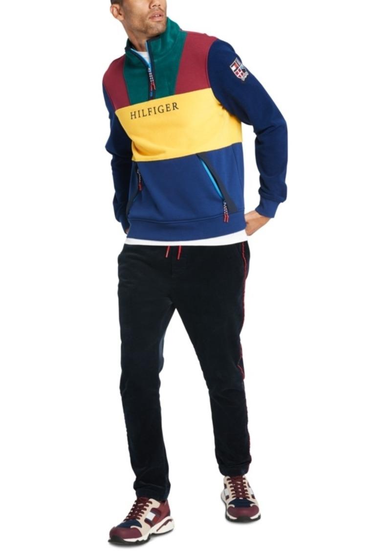 Tommy Hilfiger Men's Urban Regular-Fit Pieced Colorblocked Quarter-Zip Logo Sweater