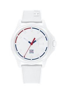 Tommy Hilfiger Mens White Silicone Strap Watch 42mm, Created for Macys