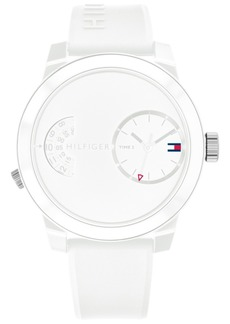 Tommy Hilfiger Men's White Silicone Strap Watch 44mm, Created for Macy's