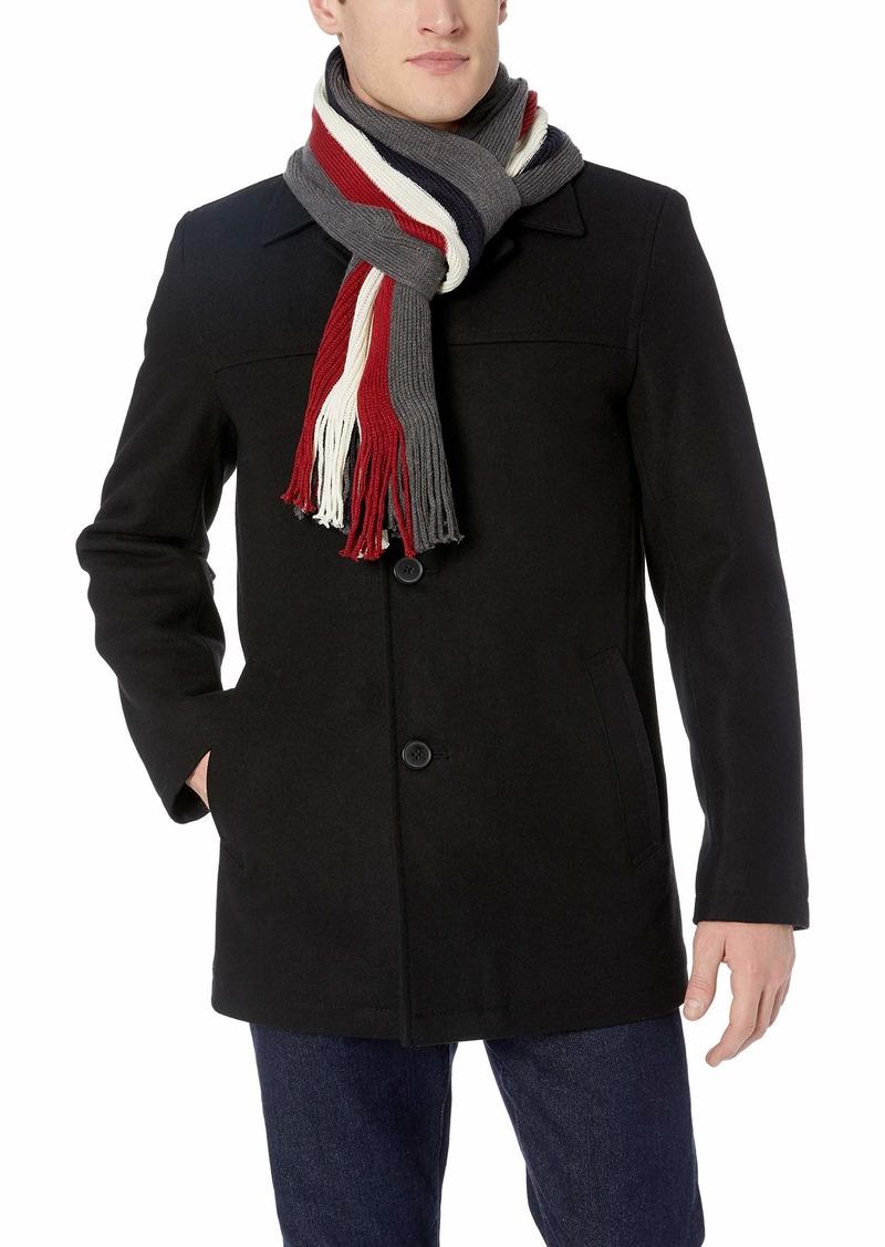Tommy Hilfiger Men's Wool Melton Walking Coat with Scarf Black/Grey Tommy Stripe