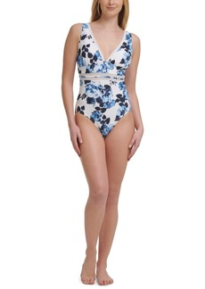 Tommy Hilfiger Mesh-Inset Floral-Print One-Piece Swimsuit Women's Swimsuit